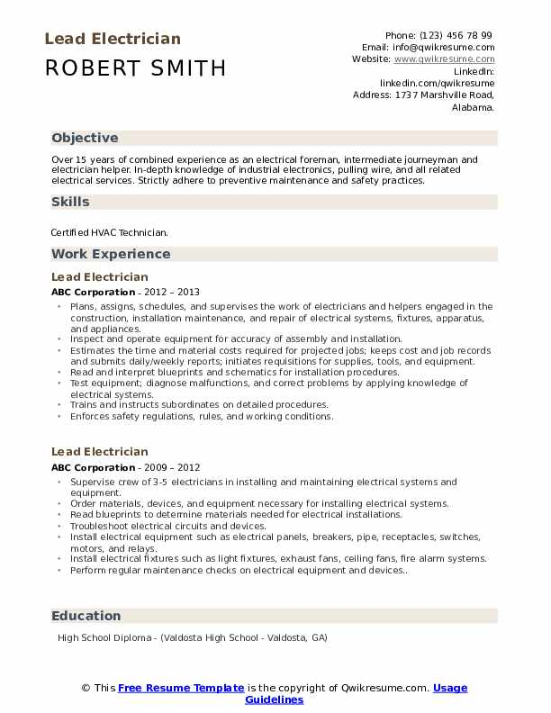 lead electrician resume samples qwikresume summary example pdf payroll clerk mila Resume Electrician Resume Summary Example