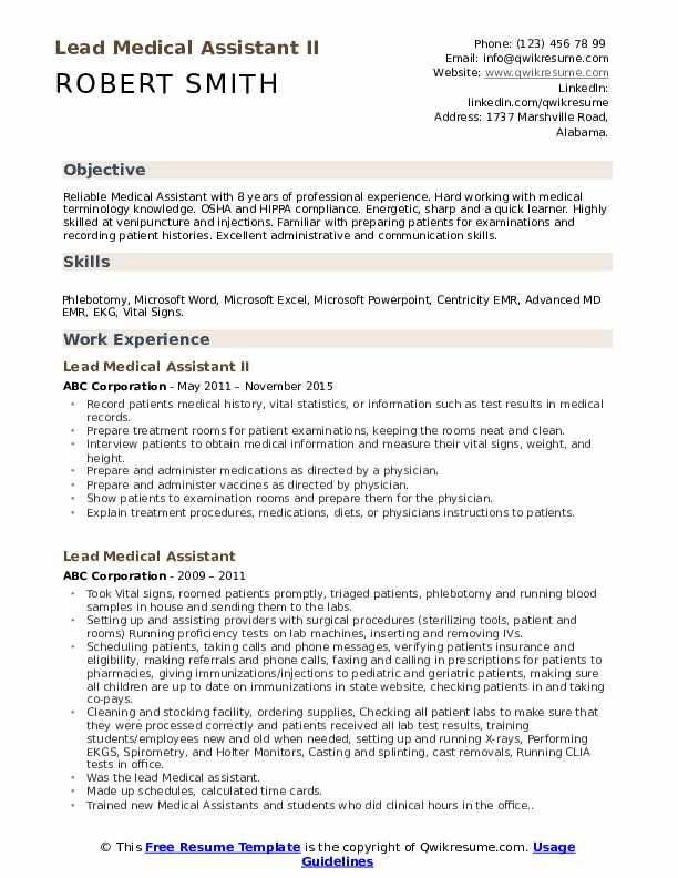 lead medical assistant resume samples qwikresume objective for examples pdf commercial Resume Resume Objective For Medical Assistant Examples