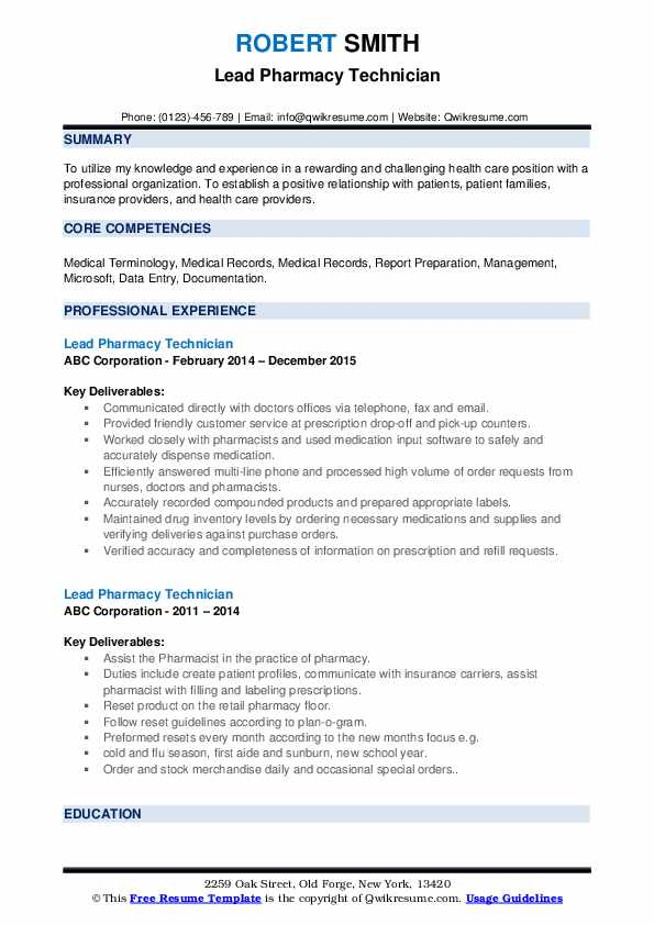 lead pharmacy technician resume samples qwikresume entry level pdf best templates general Resume Entry Level Pharmacy Technician Resume Samples
