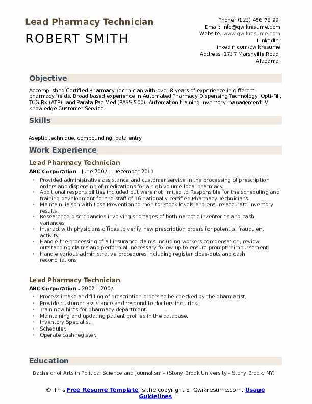 lead pharmacy technician resume samples qwikresume entry level pdf sample format project Resume Entry Level Pharmacy Technician Resume Samples