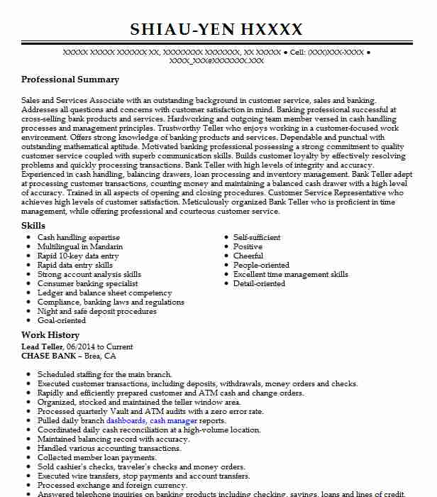 lead resume example resumes livecareer sample for position writers effective freshers Resume Sample Resume For Teller Position