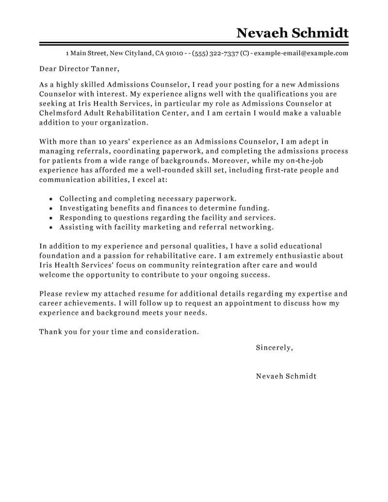 leading professional admissions counselor cover letter examples resources myperfectresume Resume Admission Counselor Resume