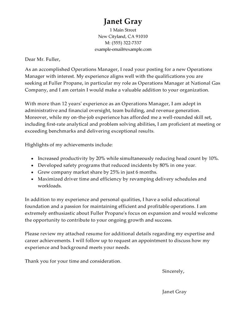 leading professional operations manager cover letter examples resources myperfectresume Resume Resume Format For Assistant Manager Operations Bpo