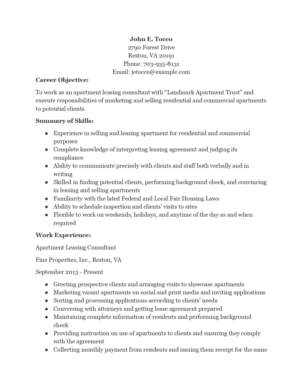 leasing consultant resume sample examples apartment business management objective for Resume Leasing Consultant Resume Examples