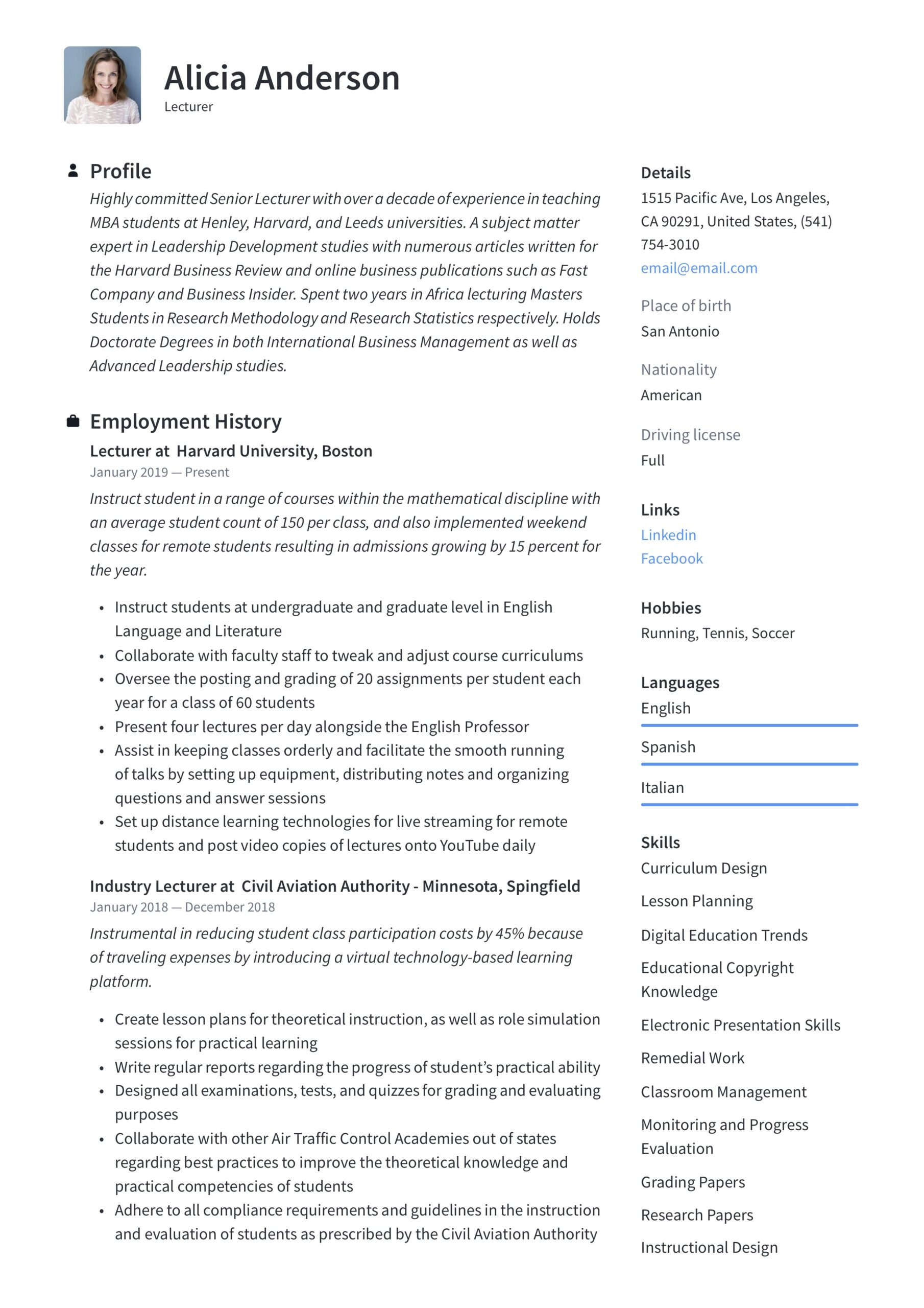 lecturer resume writing guide free examples sample for professor position interactive Resume Sample Resume For Professor Position