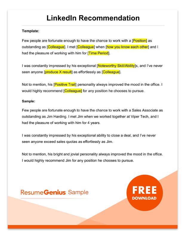letter of recommendation samples templates for employment rg resume template linkedin Resume Resume Template For Recommendation Letter