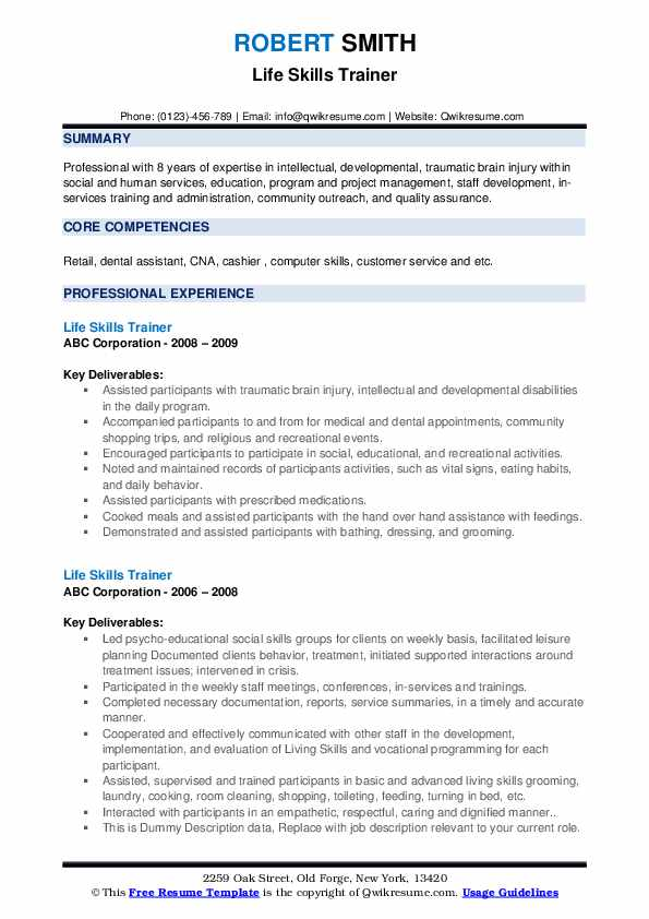 life skills trainer resume samples qwikresume for pdf word document free templates pta Resume Trainer Skills For Resume