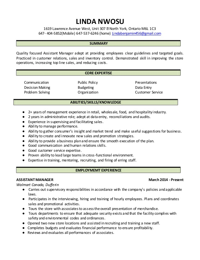 linda nwosu assistant manager resume skills prior authorization sample for research Resume Assistant Manager Skills Resume