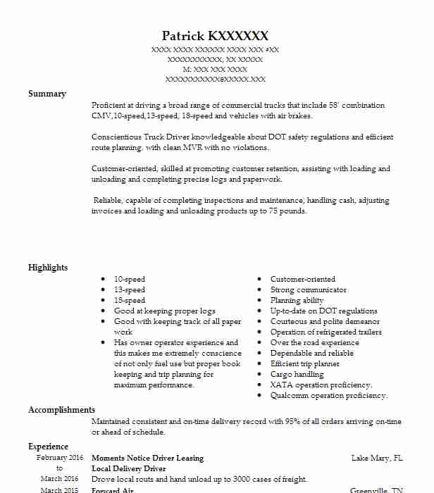 local delivery driver resume example resumes livecareer route sample marketing consultant Resume Route Delivery Driver Resume Sample