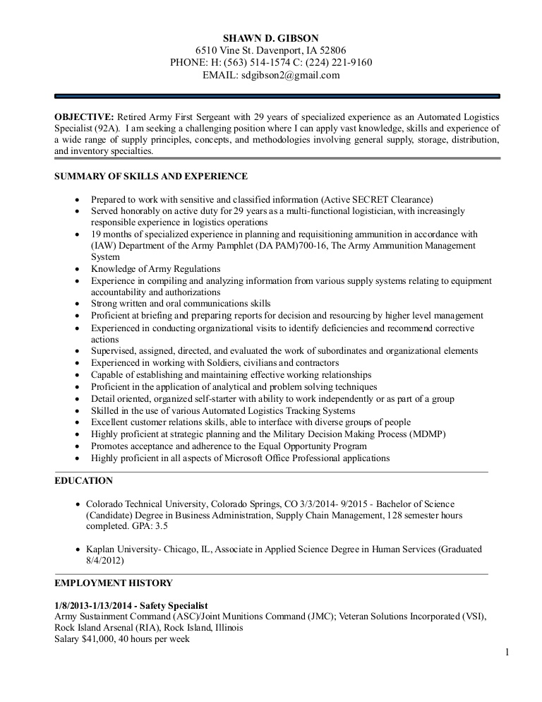 logistics management resume for shawn december automated logistical specialist conversion Resume Automated Logistical Specialist Resume