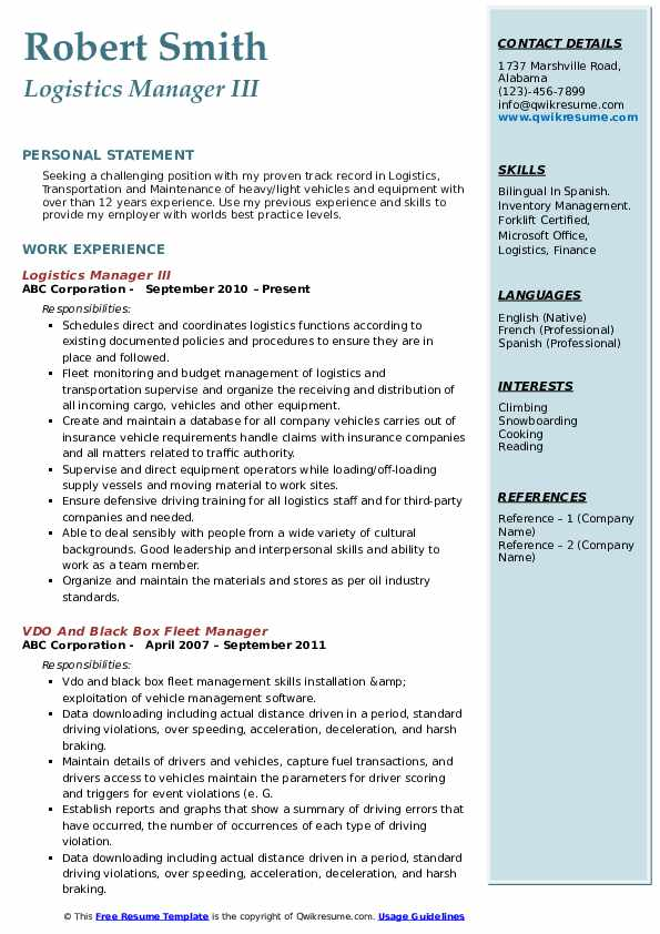 logistics manager resume samples qwikresume pdf great titles difference between linkedin Resume Logistics Manager Resume