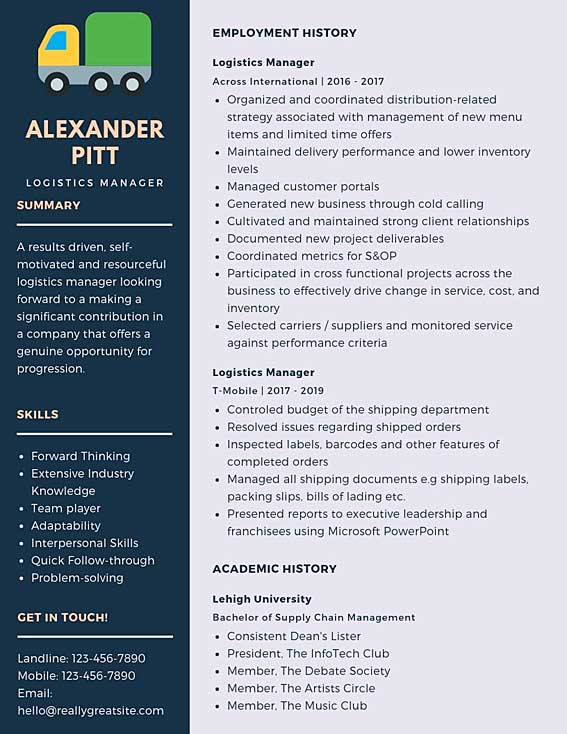 logistics manager resume samples templates pdf word resumes bot supply example staples Resume Supply Logistics Resume