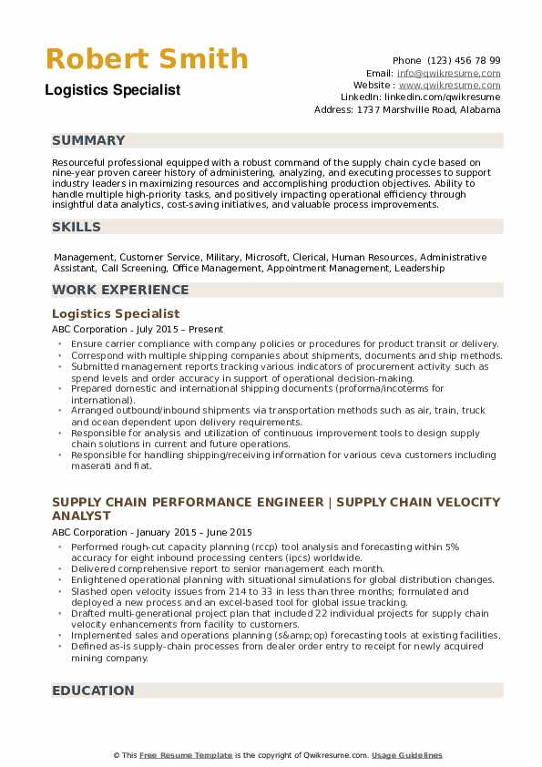 logistics specialist resume samples qwikresume automated logistical pdf free for teachers Resume Automated Logistical Specialist Resume