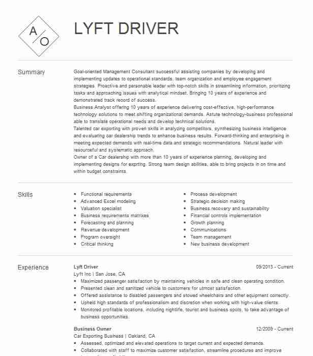 lyft driver resume example self phoenix sample for uber assassin big data analyst ent Resume Sample Resume For Uber Driver