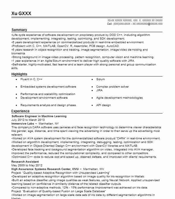 machine learning engineer resume example platerate new for years experience high school Resume Machine Learning Resume For 2 Years Experience