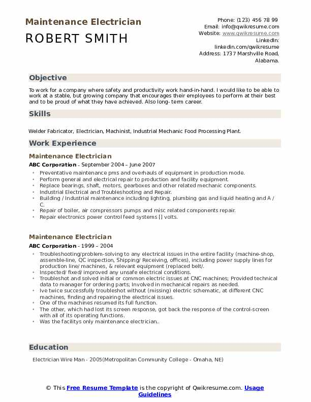 maintenance electrician resume samples qwikresume templates word pdf cognos testing shift Resume Maintenance Resume Templates Word