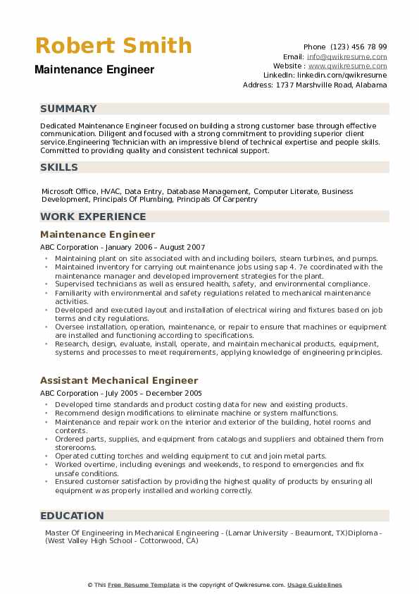maintenance engineer resume samples qwikresume templates word pdf title for experienced Resume Maintenance Resume Templates Word