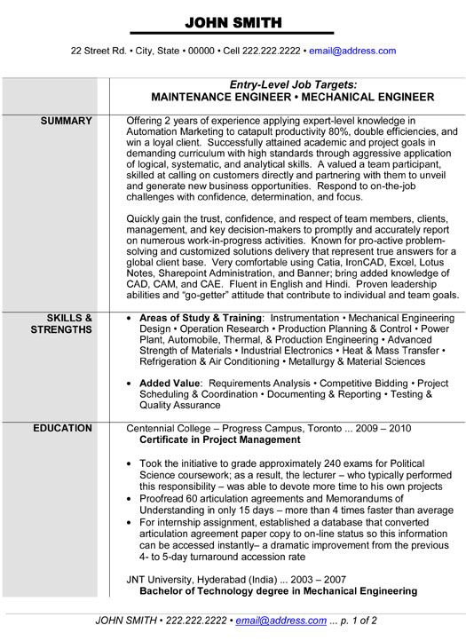 maintenance or mechanical engineer resume template want it engineering templates word Resume Maintenance Resume Templates Word