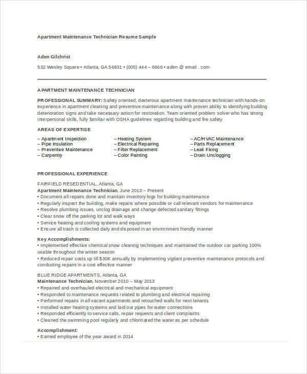 maintenance resume free word pdf documents premium templates apartment during college for Resume Maintenance Resume Templates Word