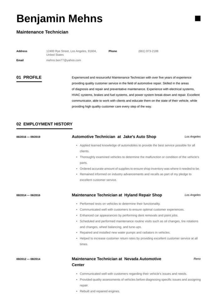 maintenance technician resume examples writing tips free guide io objective receptionist Resume Maintenance Resume Objective