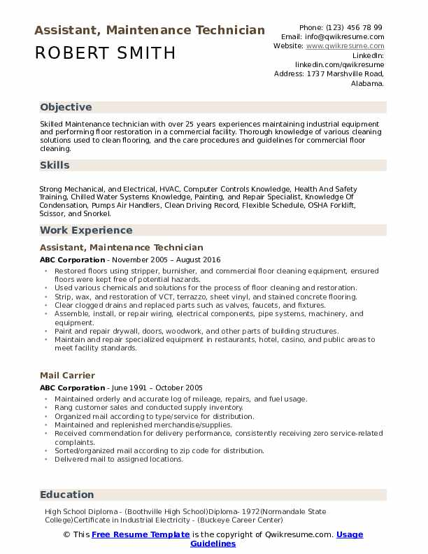 maintenance technician resume samples qwikresume templates word pdf during college for Resume Maintenance Resume Templates Word