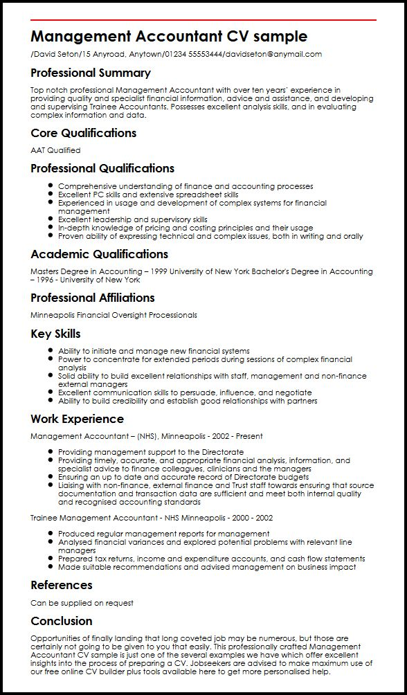 management accountant cv example myperfectcv skills and abilities for accounting resume Resume Skills And Abilities For Accounting Resume