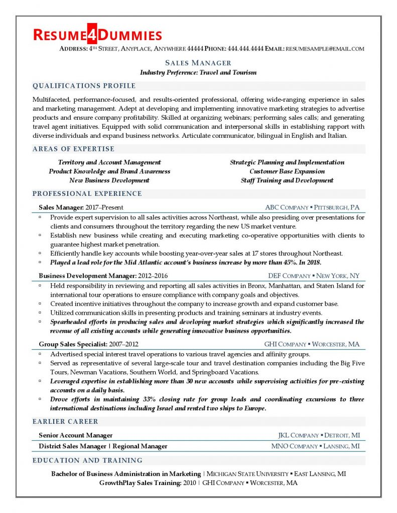 manager resume examples tips resume4dummies district 791x1024 personal attributes for Resume District Manager Resume Examples