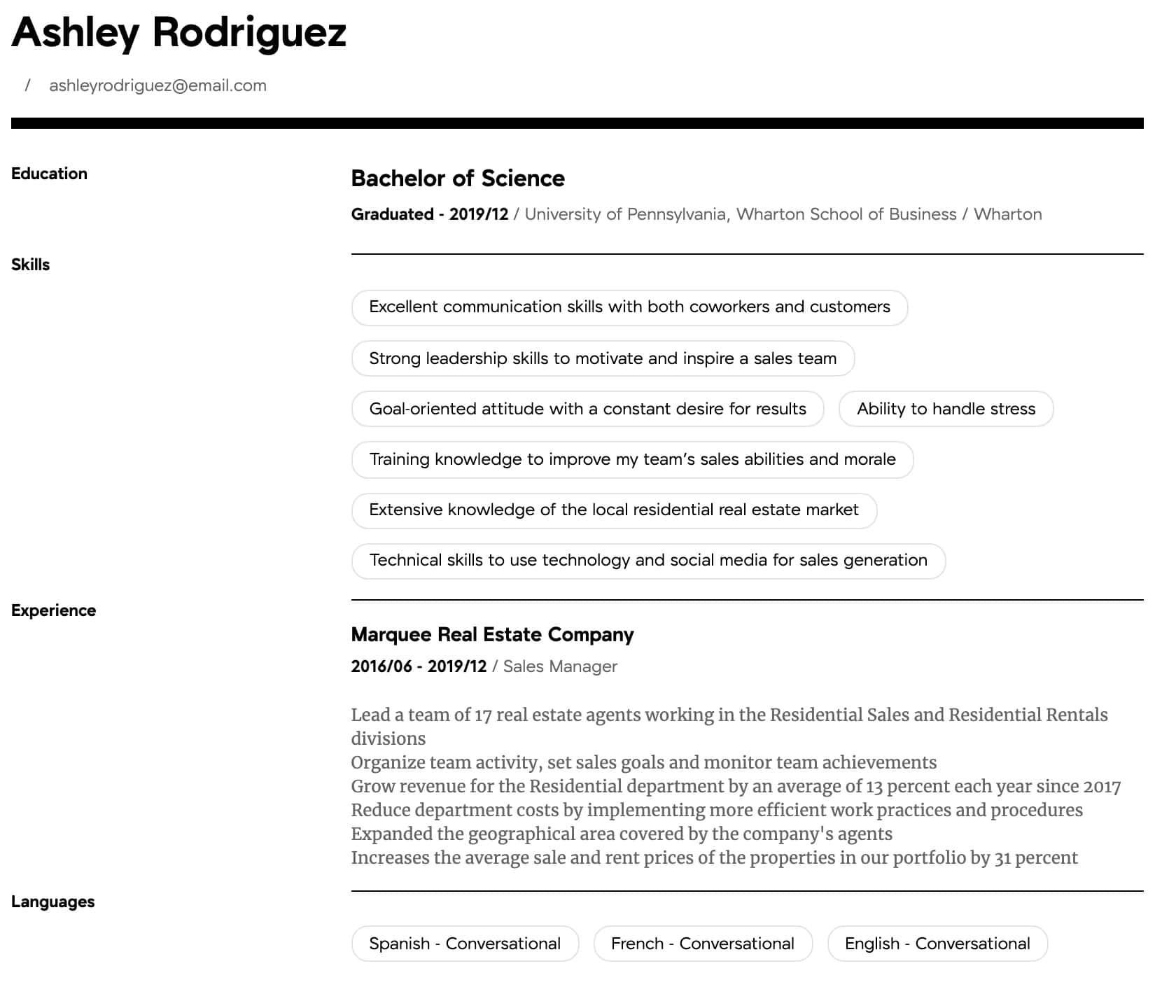 manager resume samples all experience levels business school intermediate basic Resume Wharton Business School Resume