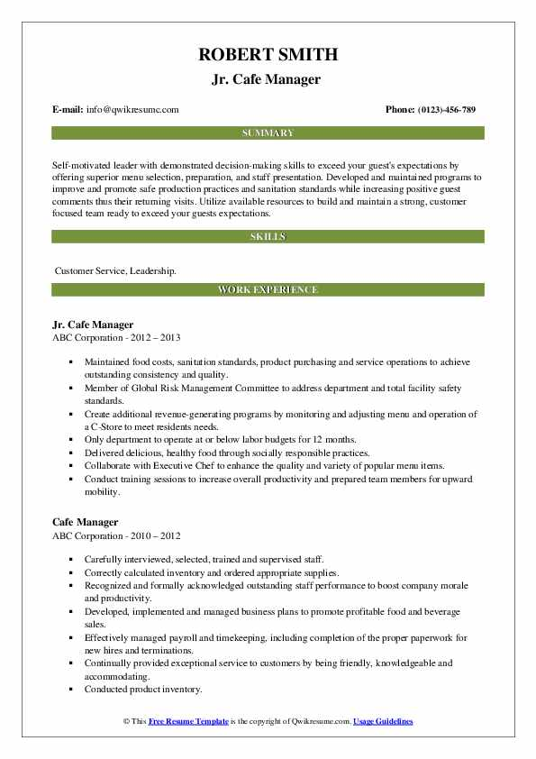 manager resume samples qwikresume duties for pdf free search keywords clerical software Resume Cafe Manager Duties For Resume
