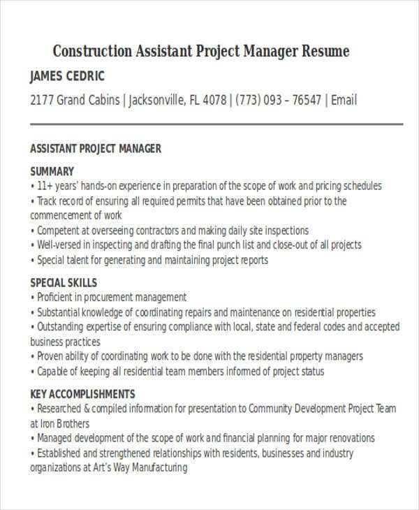 manager resume templates pdf free premium assistant project construction skills and Resume Assistant Project Manager Construction Resume