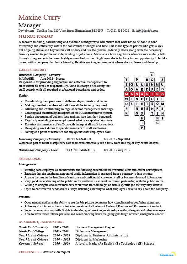 managers resume cv that has unique crossword feature lists relevant leadership and Resume Resume Doing Business Crossword