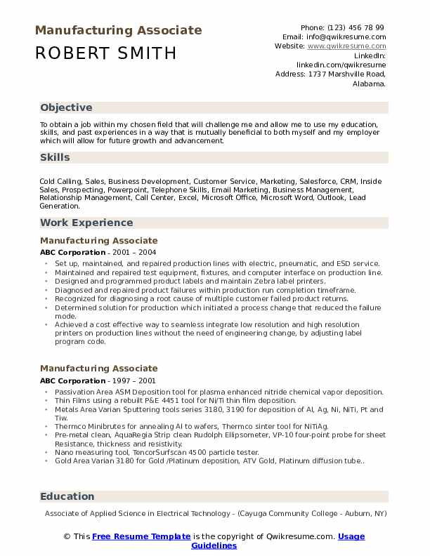 manufacturing associate resume samples qwikresume objective for position pdf help with Resume Resume Objective For Manufacturing Position