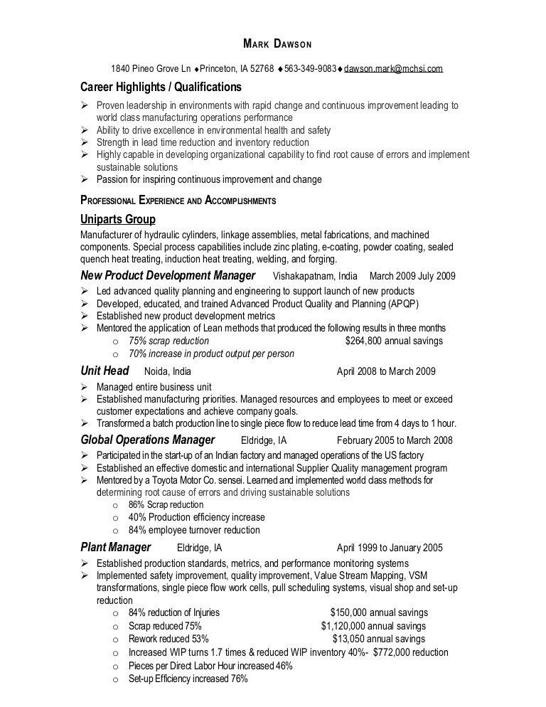manufacturing operations manager resume mark plant Resume Plant Operations Manager Resume
