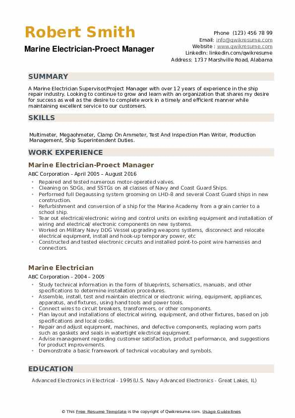 marine electrician resume samples qwikresume superintendent pdf national honor society Resume Marine Superintendent Resume