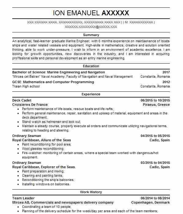 marine engineers cv examples engineering cvs livecareer resume of experienced front end Resume Resume Of A Experienced Marine Engineers