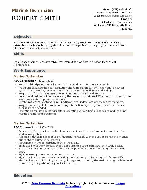 marine technician resume samples qwikresume of experienced engineers pdf collection agent Resume Resume Of A Experienced Marine Engineers