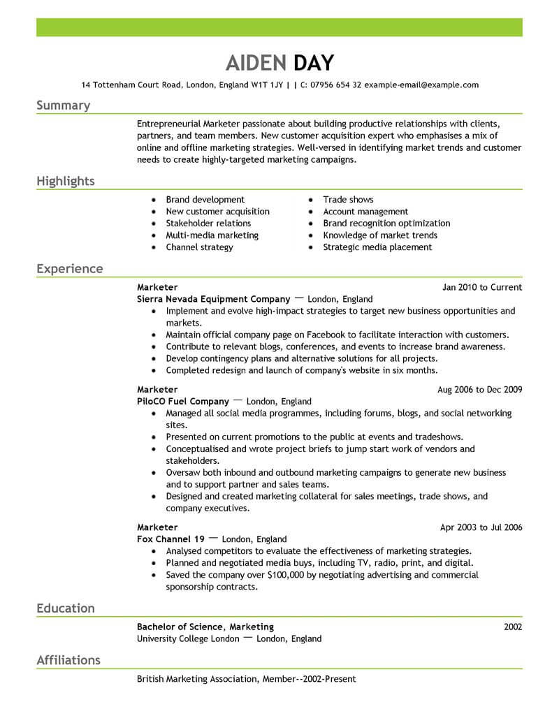 marketing advertising and pr resume template for microsoft word livecareer free samples Resume Free Marketing Resume Samples