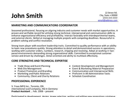 marketing and communications coordinator resume template want it public relations project Resume Resume Specialist Toronto
