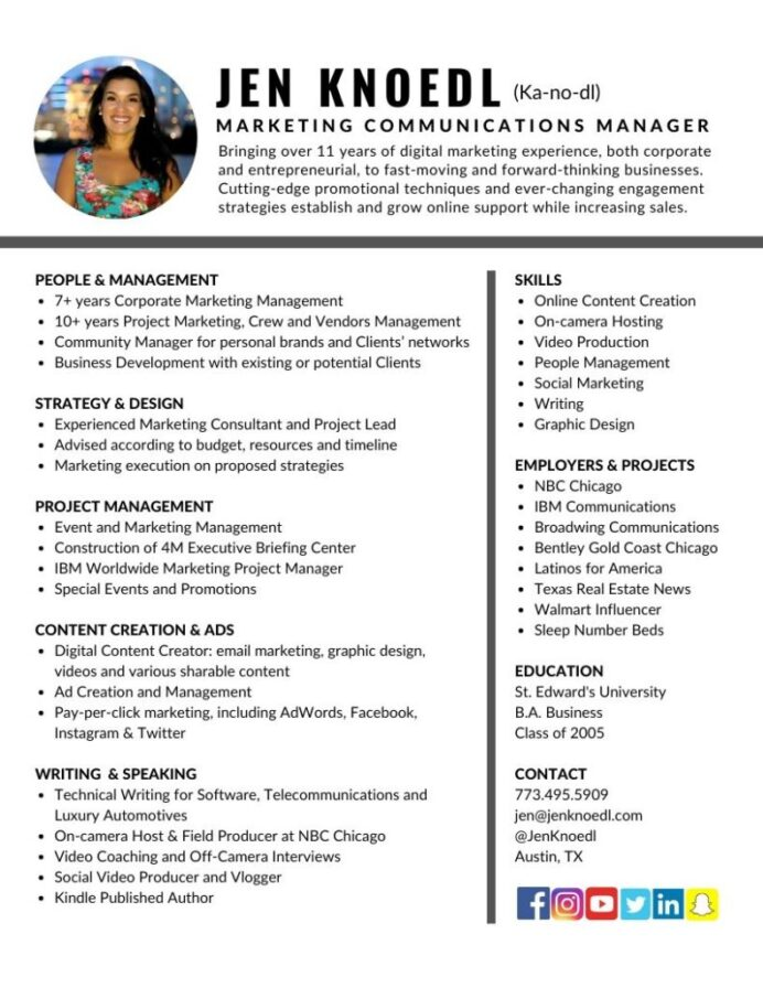 marketing communications manager resume jen knoedl digital project 791x1024 strong work Resume Digital Marketing Project Manager Resume