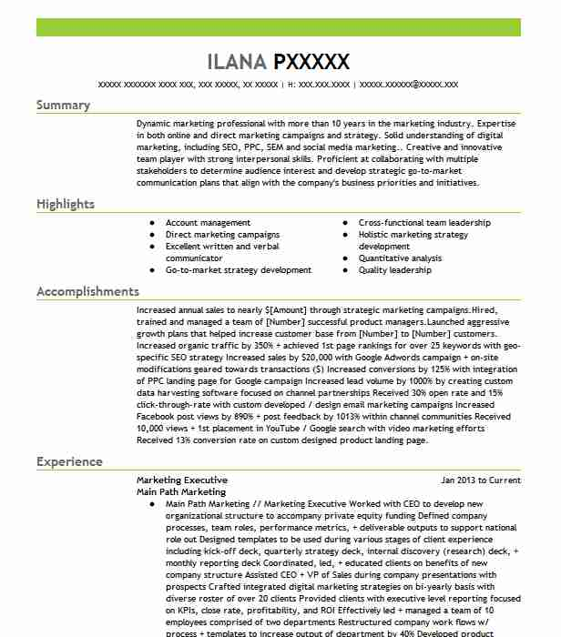 marketing executive resume example resumes livecareer summary of need help creating for Resume Executive Summary Of Resume Example