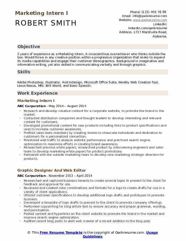 marketing intern resume samples qwikresume objective for graduate pdf help with and cover Resume Resume Objective For Marketing Graduate