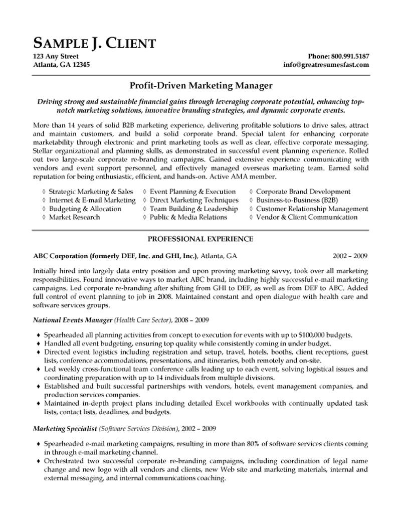 marketing manager resume summary examples operations lead generation experience upload Resume Marketing Resume Summary Examples