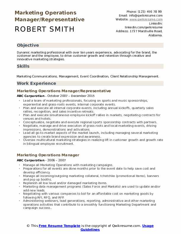 marketing operations manager resume samples qwikresume summary for pdf production support Resume Operations Manager Summary For Resume
