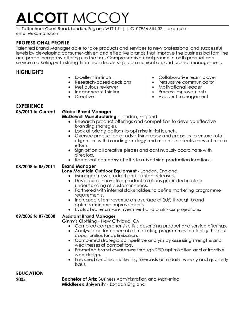 marketing resume examples example resumes livecareer format brand manager contemporary Resume Marketing Resume Format