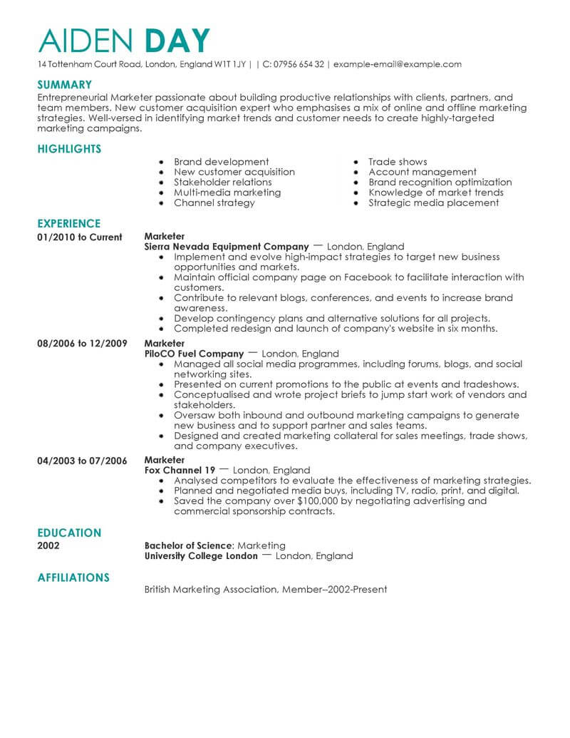 marketing resume examples example resumes livecareer format contemporary template now Resume Marketing Resume Format