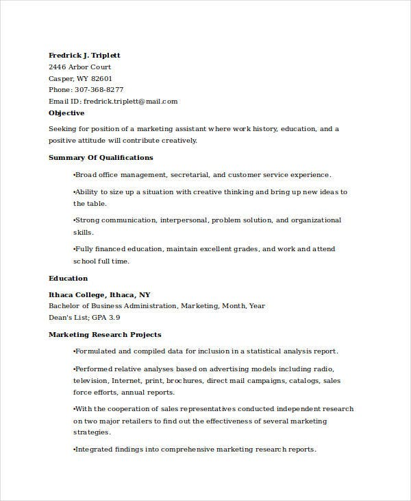 marketing resume examples free word pdf documents premium templates objective for Resume Resume Objective For Marketing Graduate