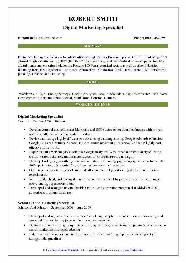 marketing resume samples examples and tips summary digital specialist pdf smart objective Resume Marketing Resume Summary Examples