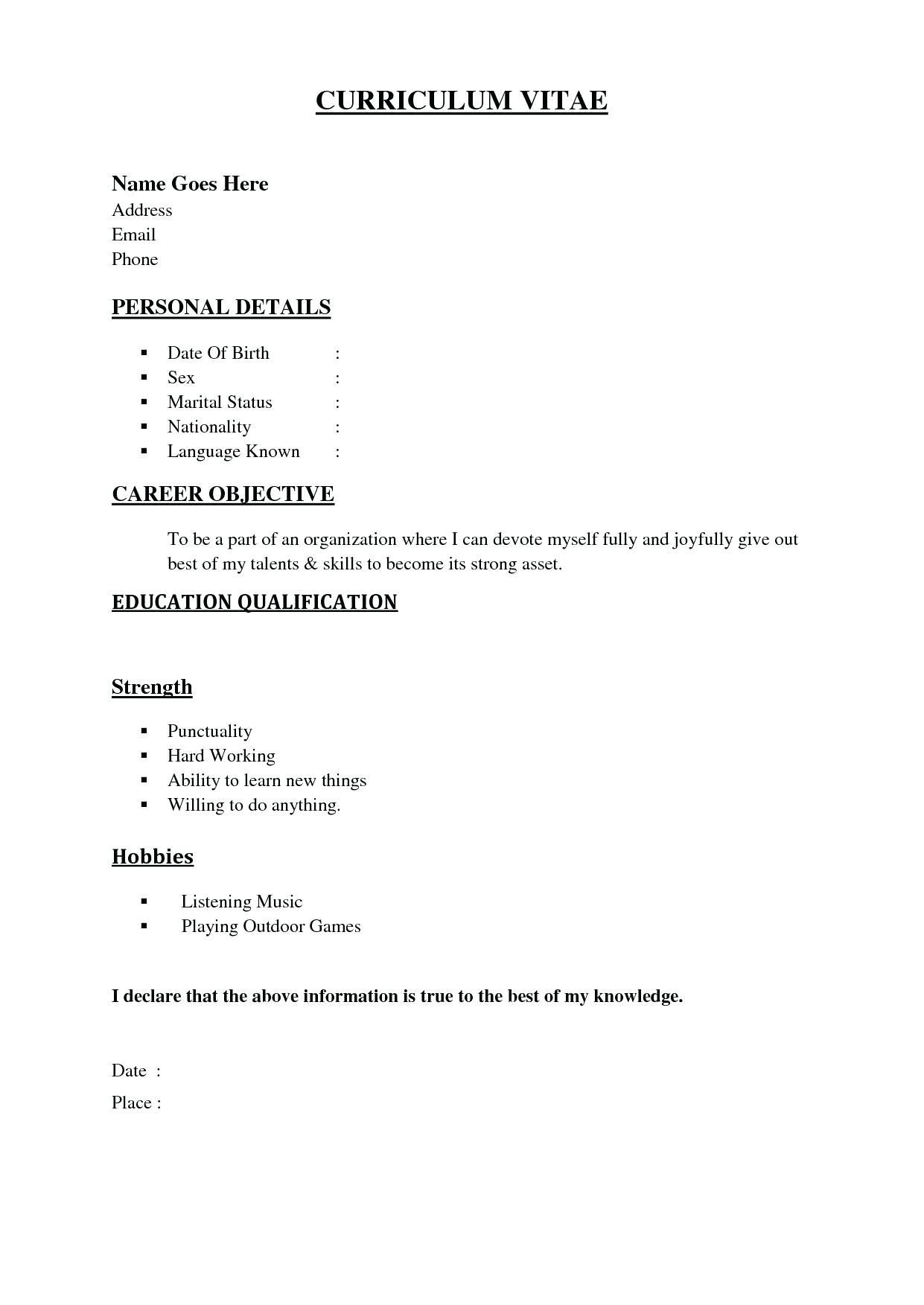 marriage resume format word file unique new south sample for girl template on basic Resume Basic Resume Examples Word