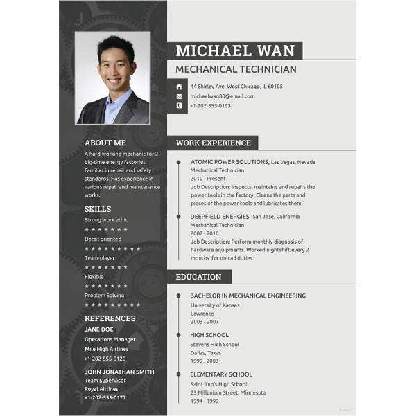 mechanical engineering resume templates pdf free premium standard format for experienced Resume Standard Resume Format For Experienced Engineers