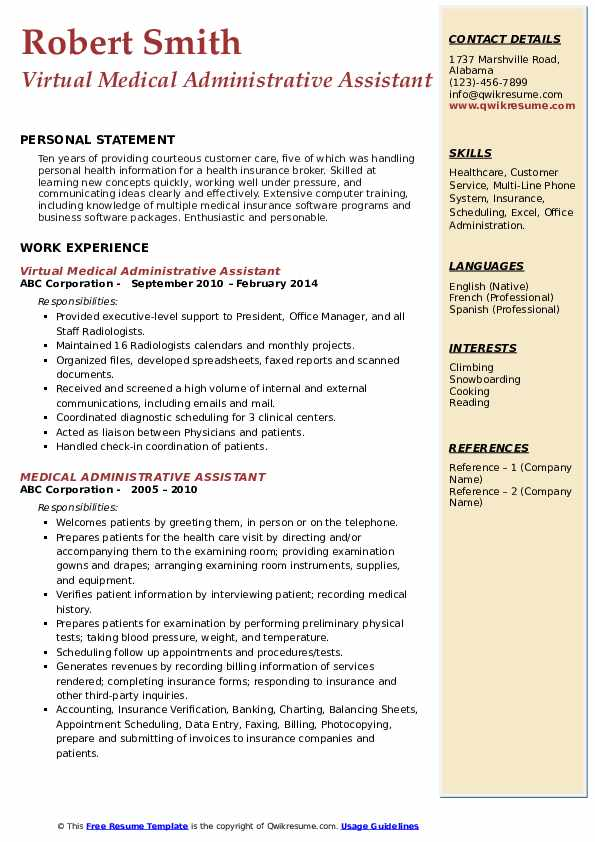 medical administrative assistant resume samples qwikresume healthcare pdf sample with Resume Healthcare Administrative Assistant Resume